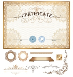 Certificate or coupon template with vintage border vector