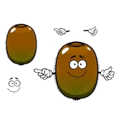 Fuzzy kiwi fruit cartoon character vector