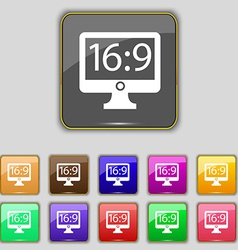 Aspect ratio 16 9 widescreen tv icon sign set with vector