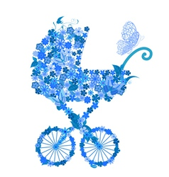 Stroller of flowers for a boy vector