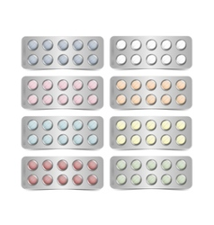 Set of packs for multicolored pills isolated vector