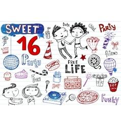 Sweet 16 party doodle set vector