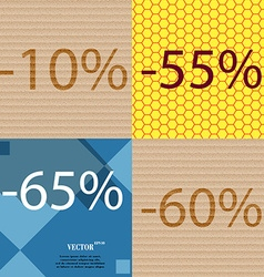 55 65 60 icon set of percent discount on abstract vector