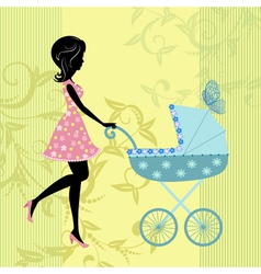 Woman with a pram vector