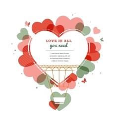 Love background - heart shape hot air balloon vector