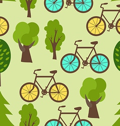 Seamless pattern with park bicycles and trees vector