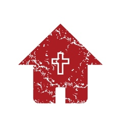 Red grunge church logo vector