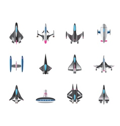 Different spaceships in flight vector