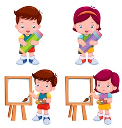 Kids with education object vector