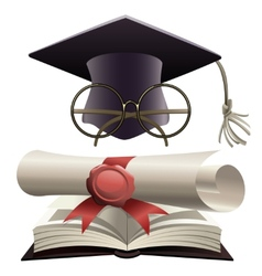 Bachelor hat with glasses and diploma vector