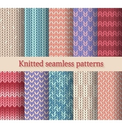 Knitted seamless patterns set vector
