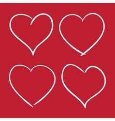 Scribble line hearts2 neg vector
