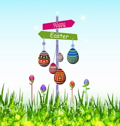 Happy easter eggs hanging on the tree vector