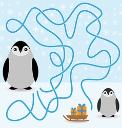 Funny penguins labyrinth game winter card for vector