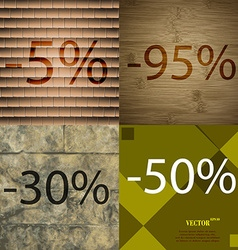 95 30 50 icon set of percent discount on abstract vector