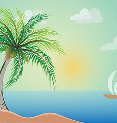 Coconut tree with beach vector