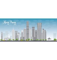 Hong kong skyline with blue sky vector