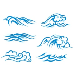Sea and ocean waves vector