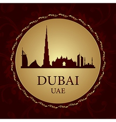 Dubai skyline silhouette on vintage background vector