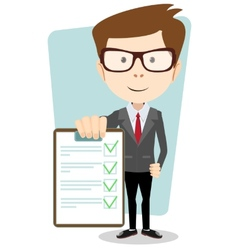 Manager holding the document approved vector