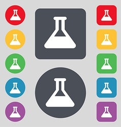 Conical flask icon sign a set of 12 colored vector