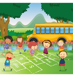 Hopscotch in park vector