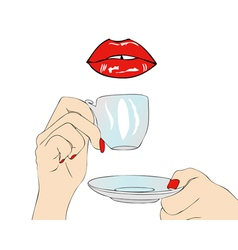 A good morning have coffee in the mouth vector