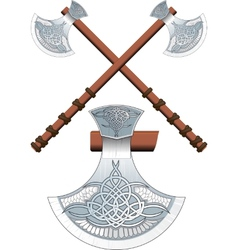 Two crossed celtic ax vector