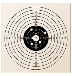 Paper rifle target with bullet holes vector
