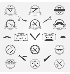 Set of barber shop logo vector