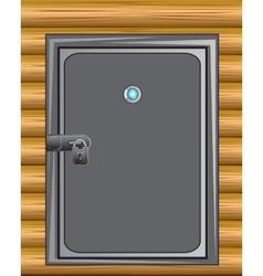 Iron door in wall vector