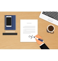 Businessman is signing a contract vector