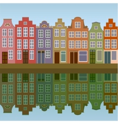 Houses on amsterdam canal vector