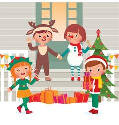 Children on the doorstep in christmas costumes vector