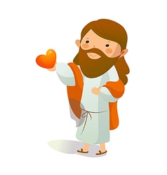 Close-up of jesus christ holding heart shape vector