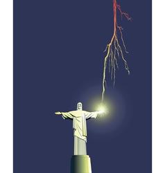 Redeemer statue in brazil vector