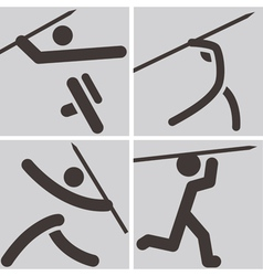 Javelin throw icons vector