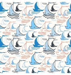 Seamless nautical pattern with sailing boats vector