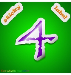 Number four icon sign symbol chic colored sticky vector