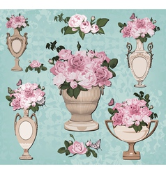 Collection of vases roses on blue background vector