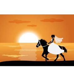 Bride rides a horse vector