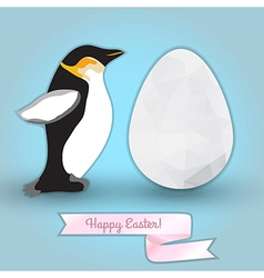 Egg and penguin congratulation with easter vector
