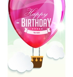 Happy birthday balloons greeting card deep rose vector