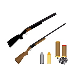 Two guns for hunting ammunition and shot vector