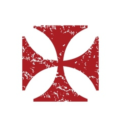 Red grunge religion cross logo vector