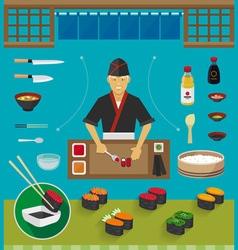 Sushi chef and cookware sets gunkan maki sushi vector