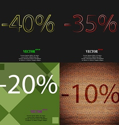 35 20 10 icon set of percent discount on abstract vector