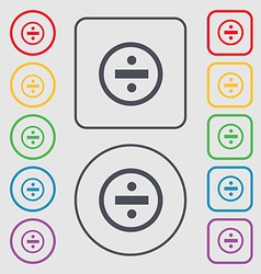 Dividing icon sign symbol on the round and square vector