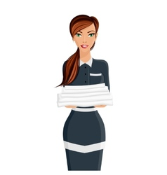 Woman hotel maid portrait vector