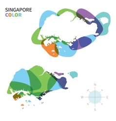 Abstract color map of singapore vector